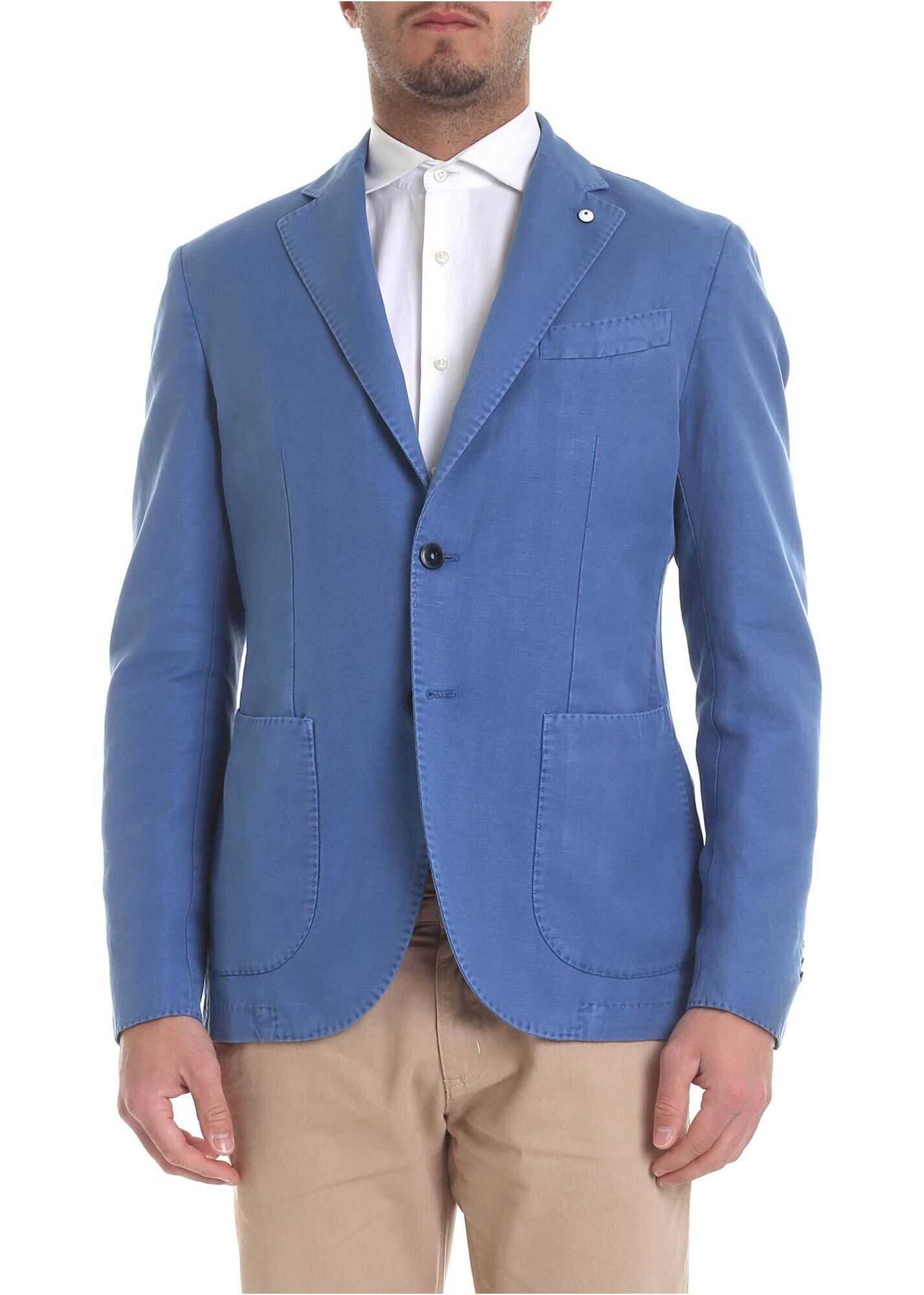 L.B.M. 1911 Jacket In Light Blue With Logo Brooch Light Blue
