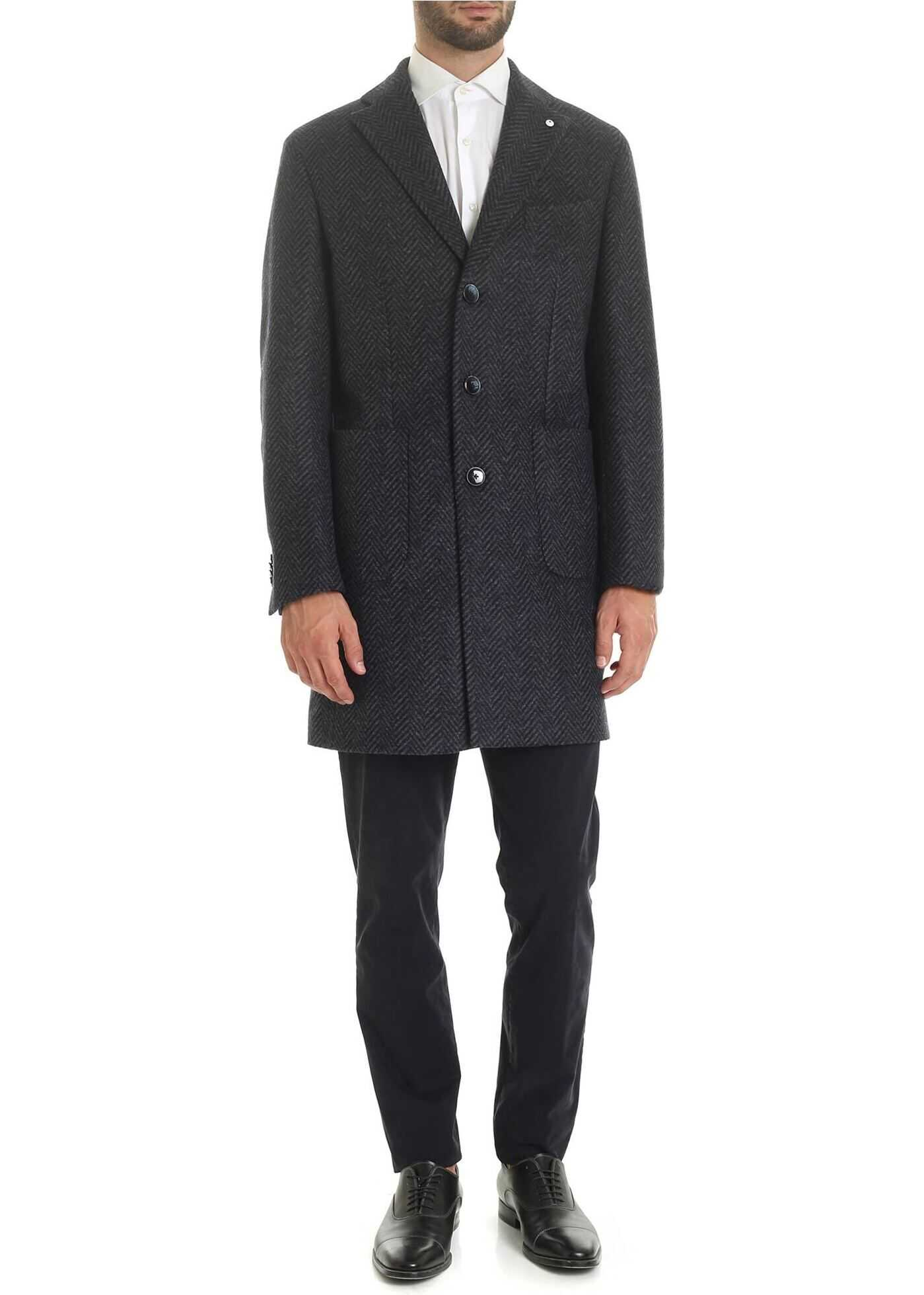 L.B.M. 1911 Dandy Coat In Blue And Black Herringbone Blue