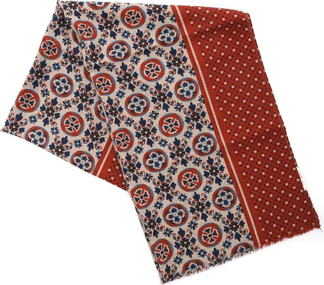 L.B.M. 1911 Decorated Scarf In Rust Color Beige