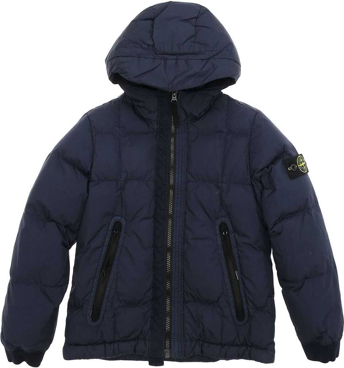 Down Jacket In Blue With Logo On The Sleeve thumbnail