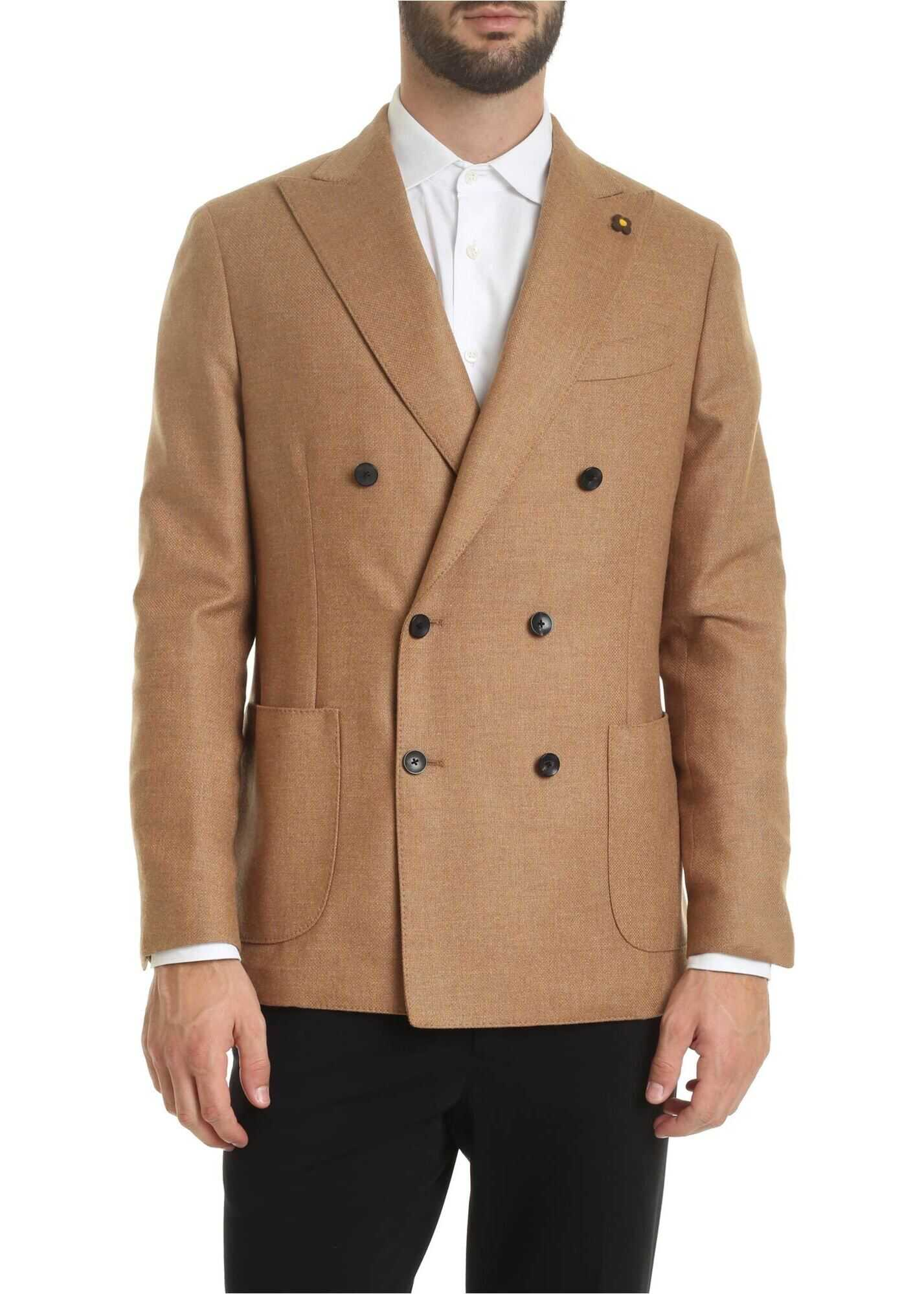 Lardini Double-Breasted Jacket In Camel Color Camel