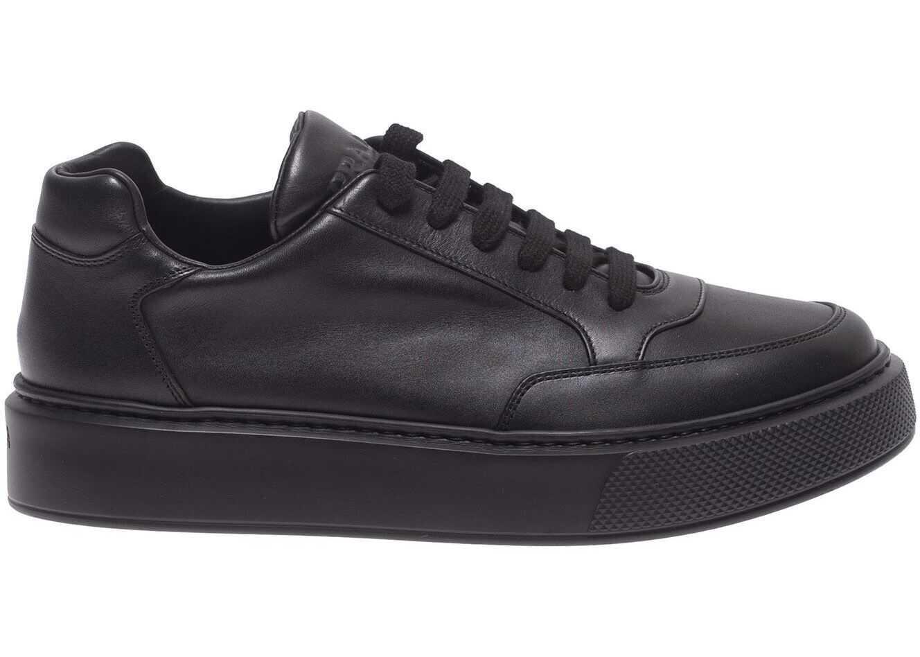 Prada Sport Black Leather Sneakers With Logo Black