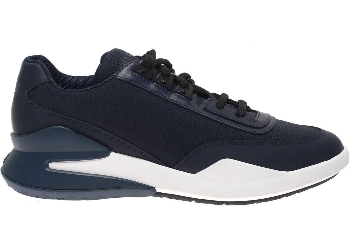 Prada Sport Blue Neoprene Sneakers With Logo Blue