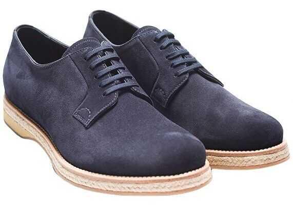 Prada Sport Suede Leather Derby Shoes 15pesuprada2eg113-4 Blue imagine b-mall.ro