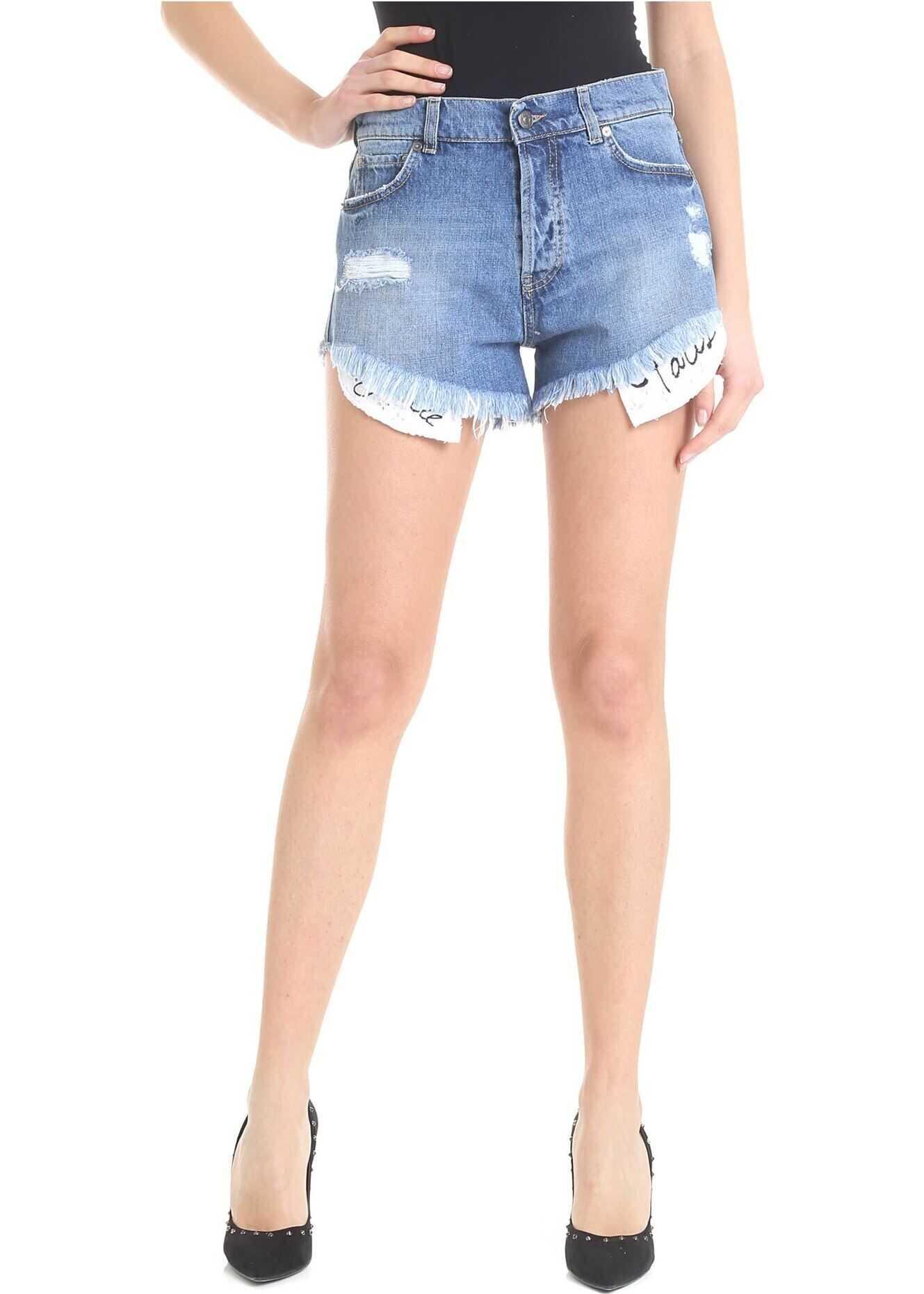 GAëLLE Paris Blue Distressed Denim Shorts Blue