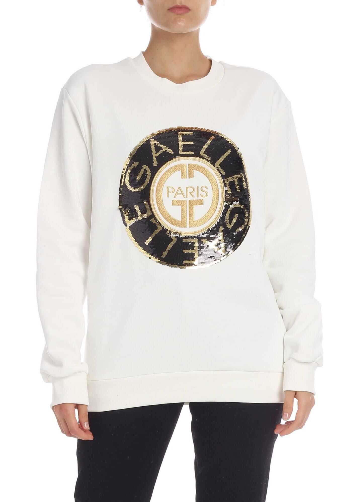 Cream Colored Sweatshirt With Lamè Logo And Sequins thumbnail