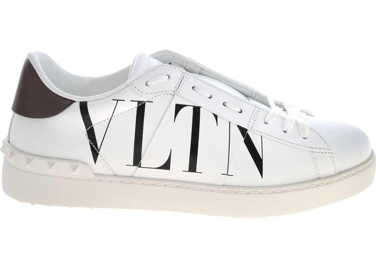 Valentino Garavani Open Sneakers In White With Vltn Print White