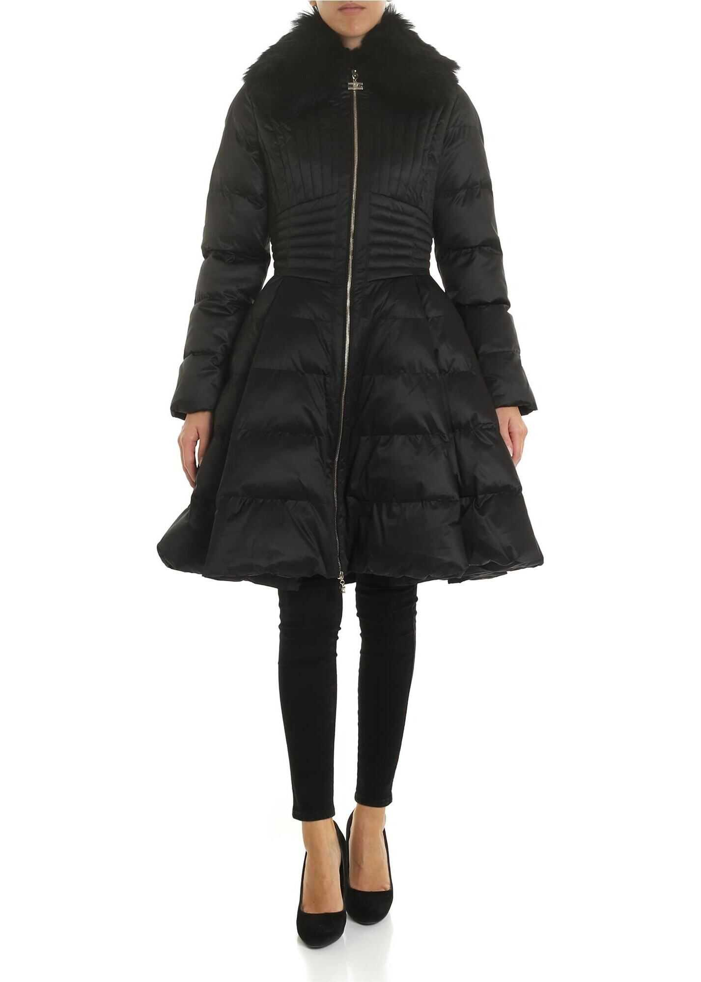 Elisabetta Franchi Black Flared Down Jacket With Eco-Fur Insert Black