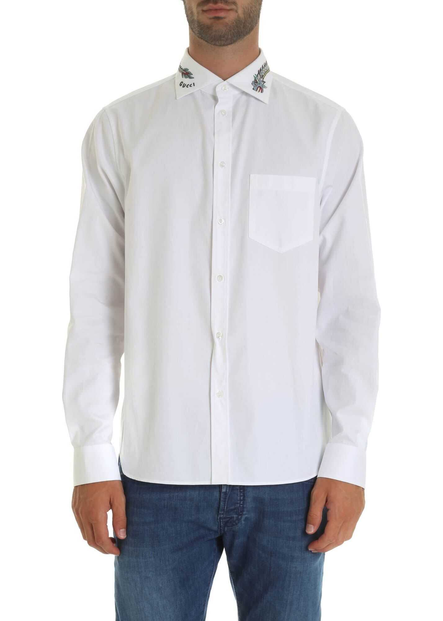 Gucci Shirt In White With Embroidered Collar White