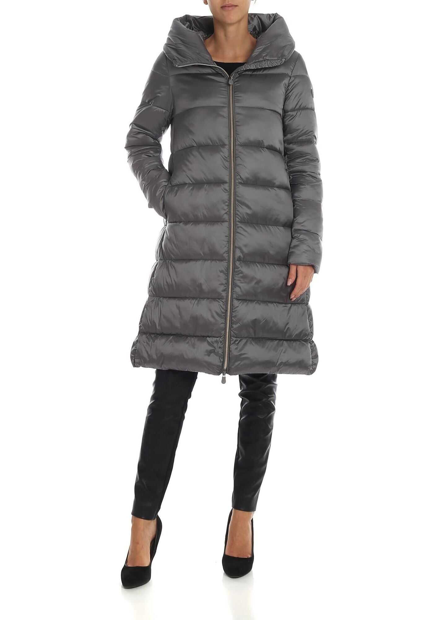 Save the Duck Grey Flared Down Jacket With Branded Patch Grey