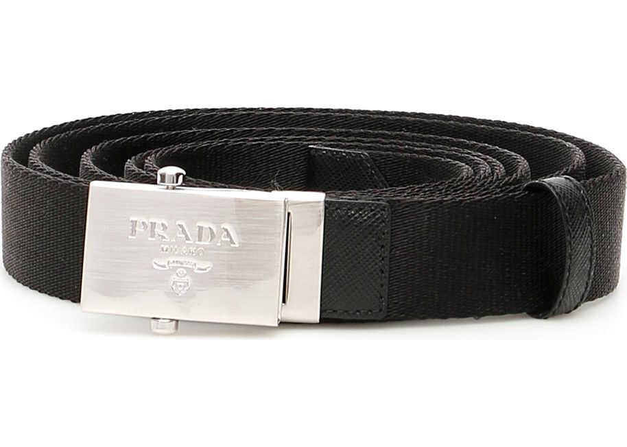 Prada Belt With Logo Buckle NERO