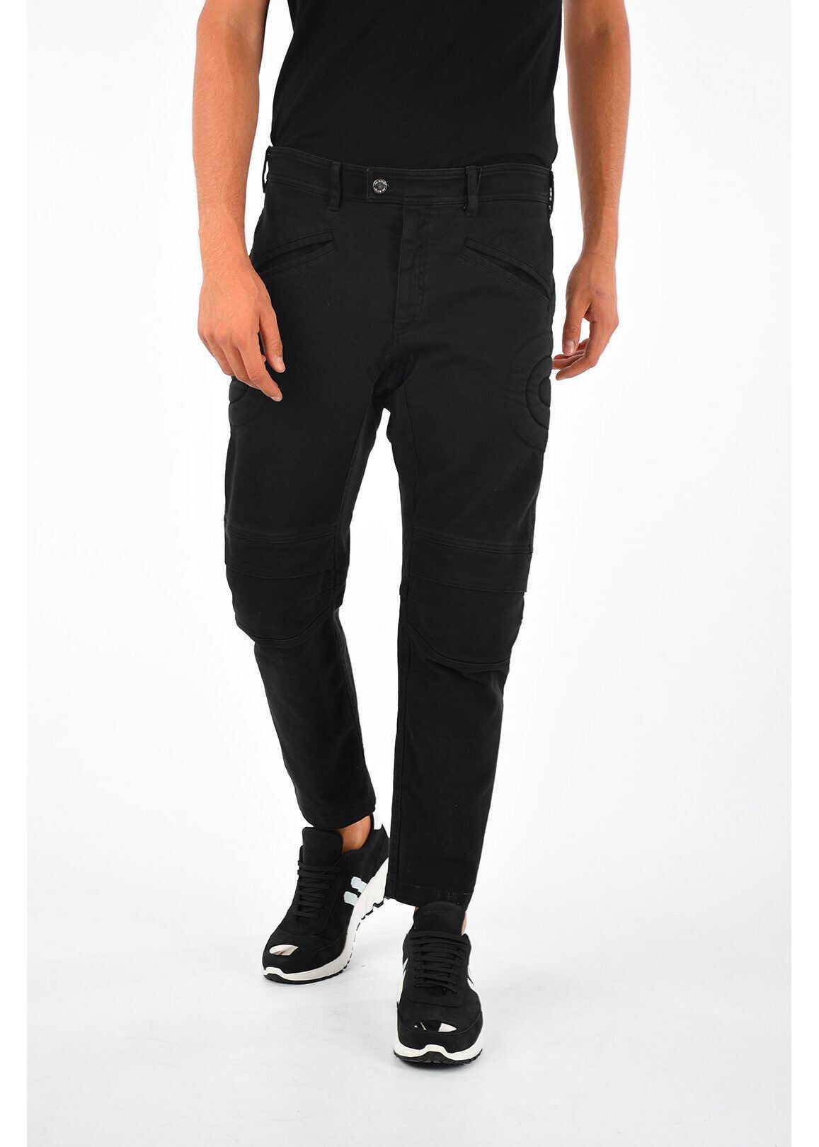 Neil Barrett 17cm Low Rise Biker Jeans BLACK