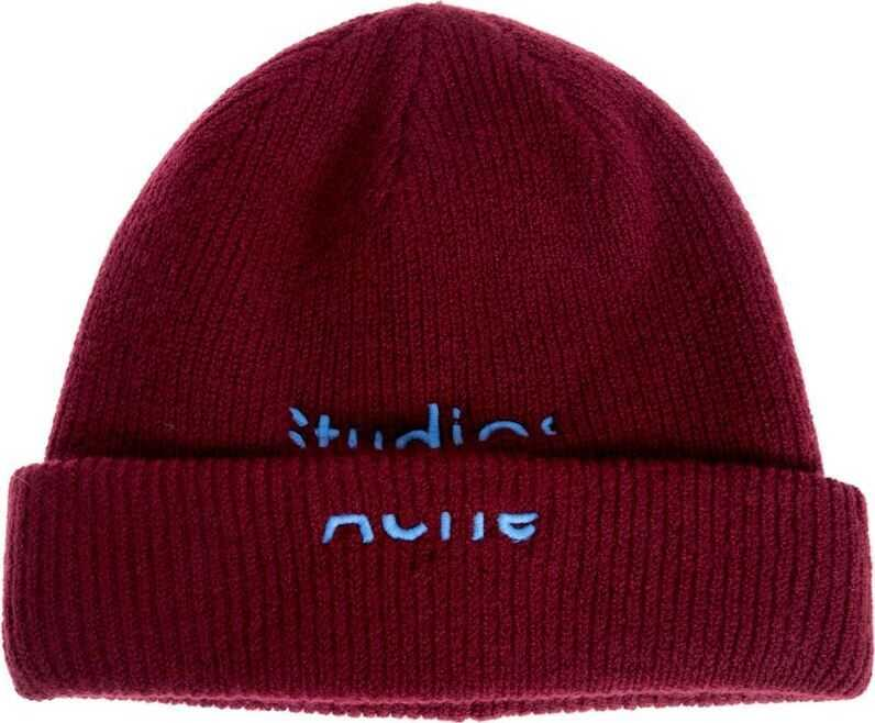 Acne Studios Red Ribbed Beanie Red