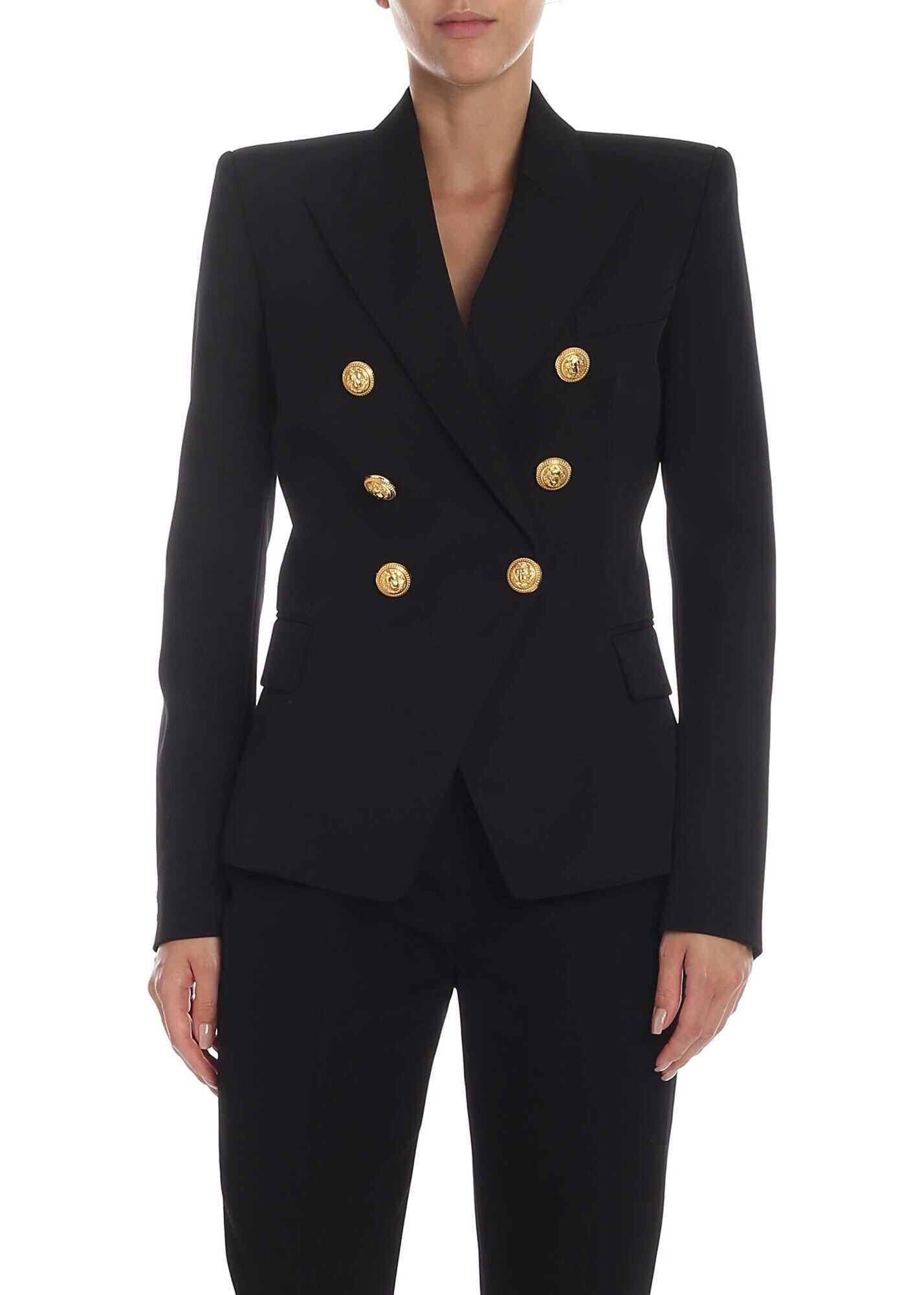 Balmain Black Double-Breasted Jacket With Golden Buttons Black