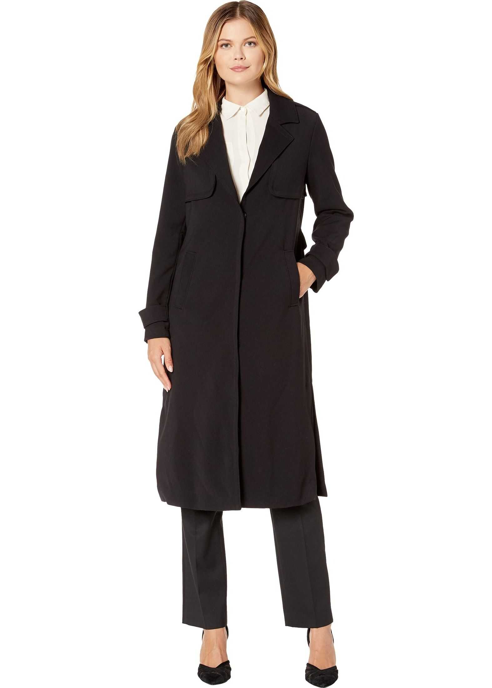 Kenneth Cole New York Notched Long Ponte Trench Coat Black