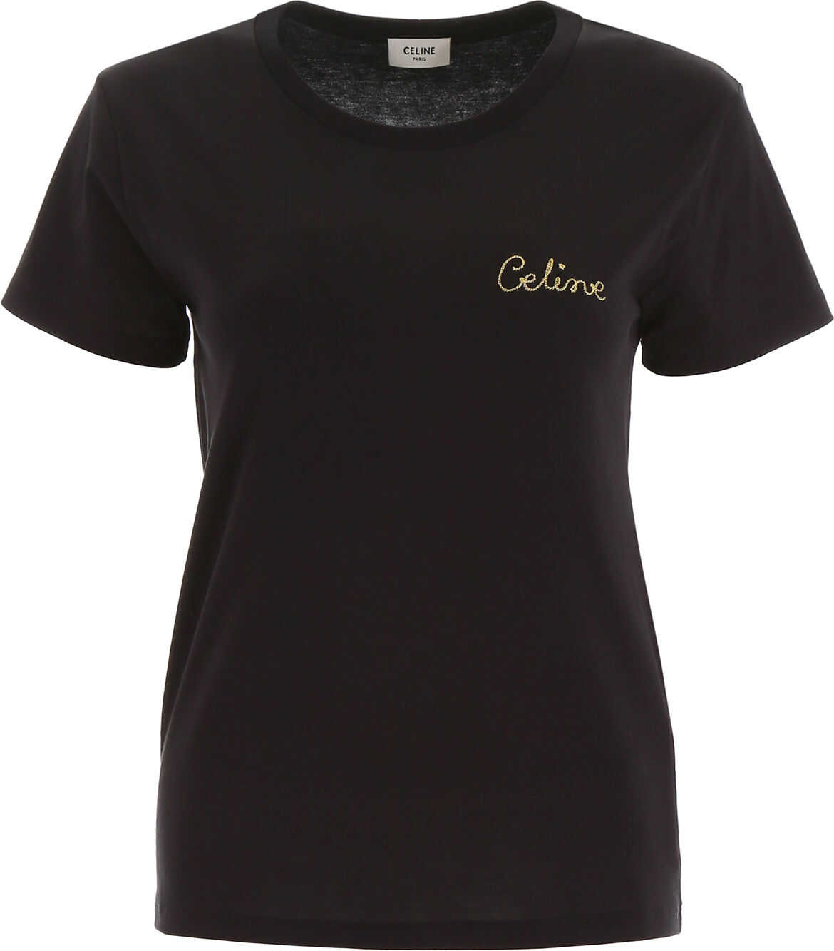 Céline T-Shirt With Embroidered Logo BLACK