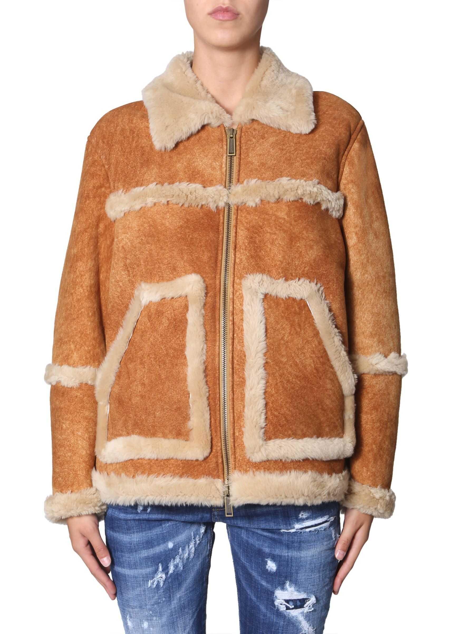 DSQUARED2 Sheepskin Jacket With Pockets BEIGE