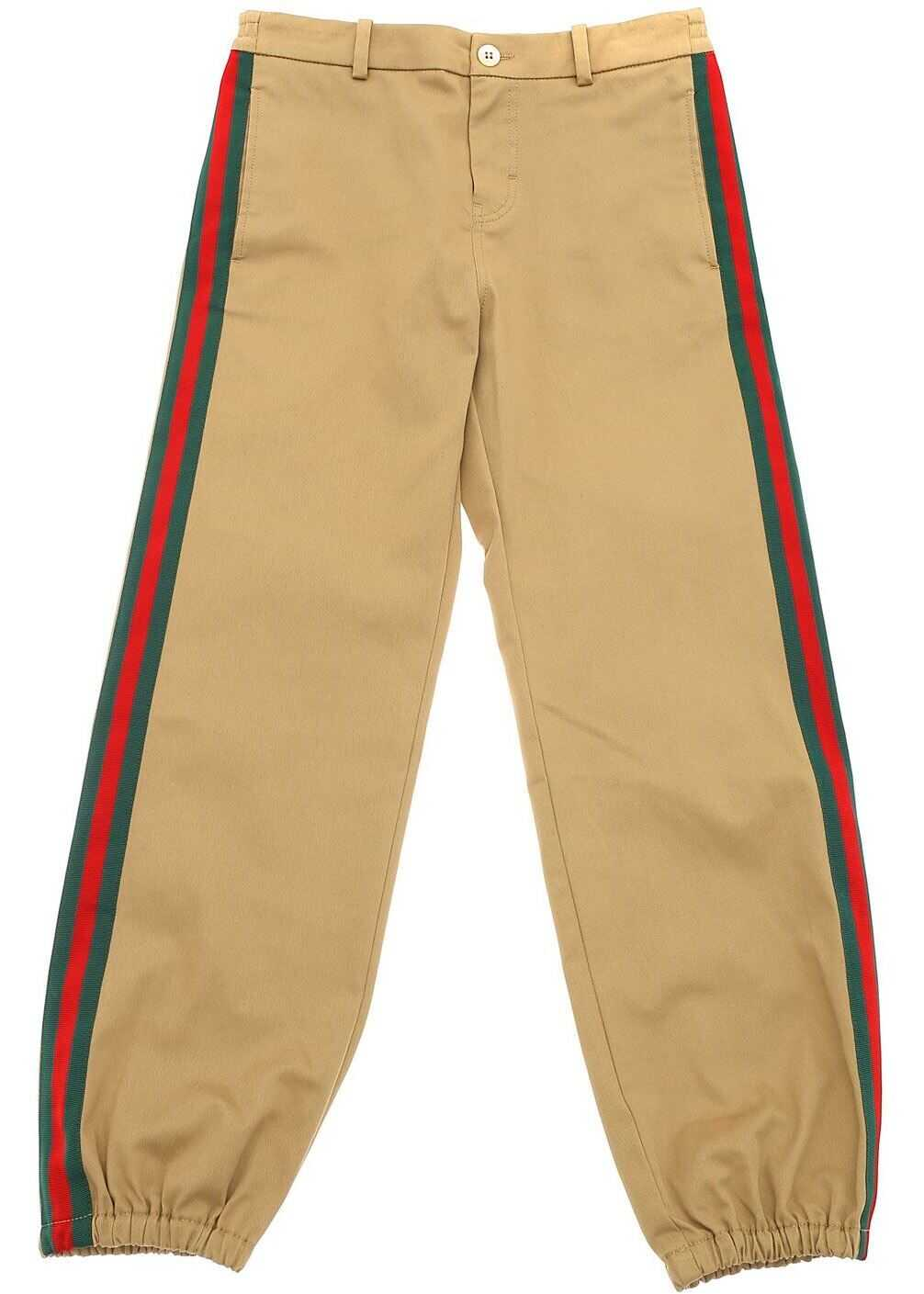 Gucci Camel-Colored Trousers With Logo Patch Beige