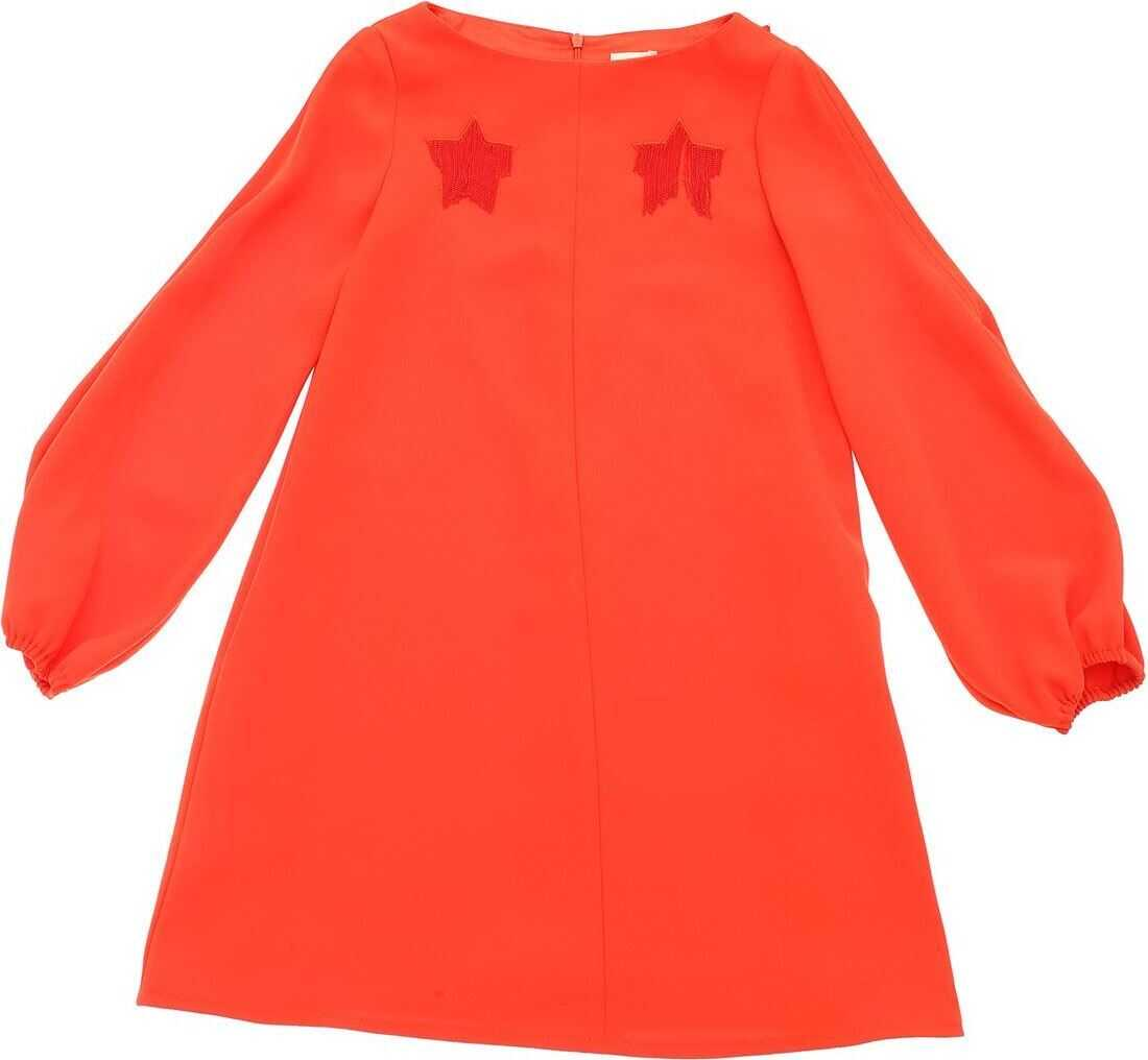 Coral-Colored Dress With Embroidered Stars thumbnail