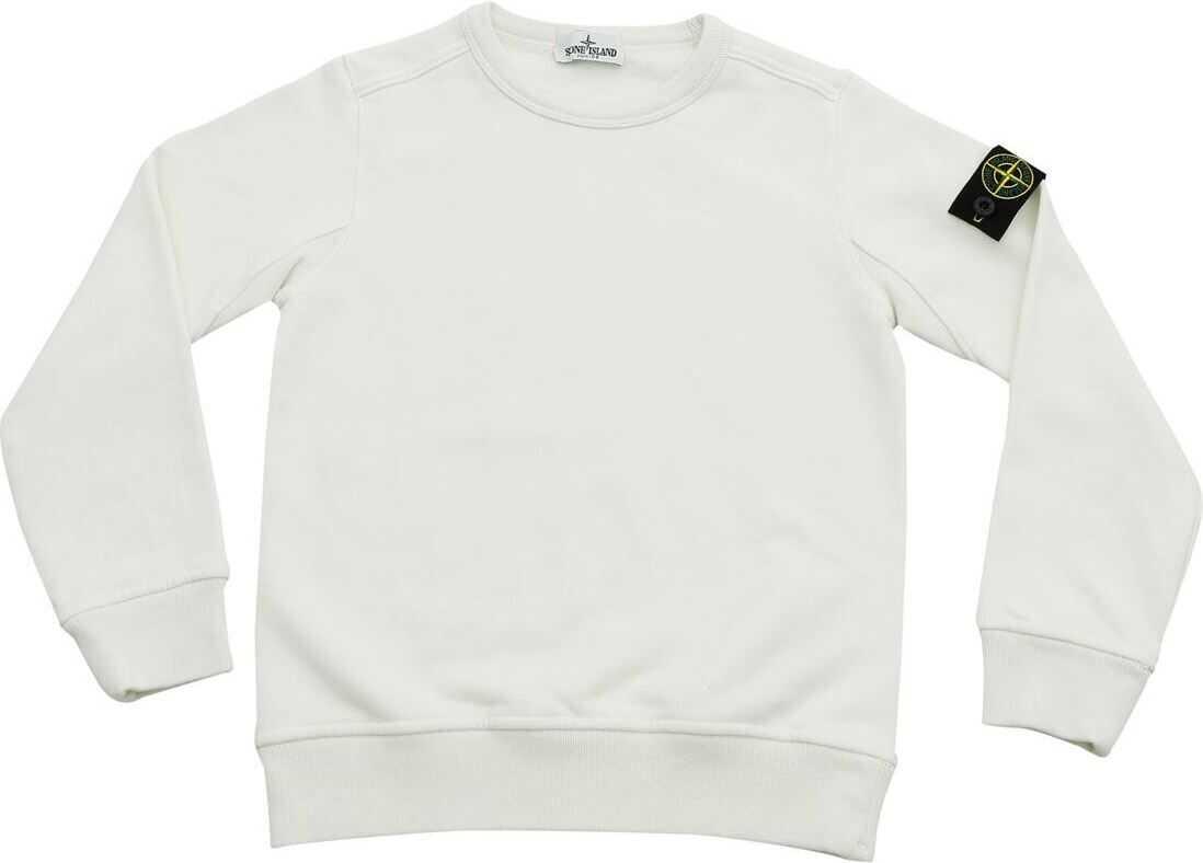 White Sweatshirt With Logo Patch thumbnail