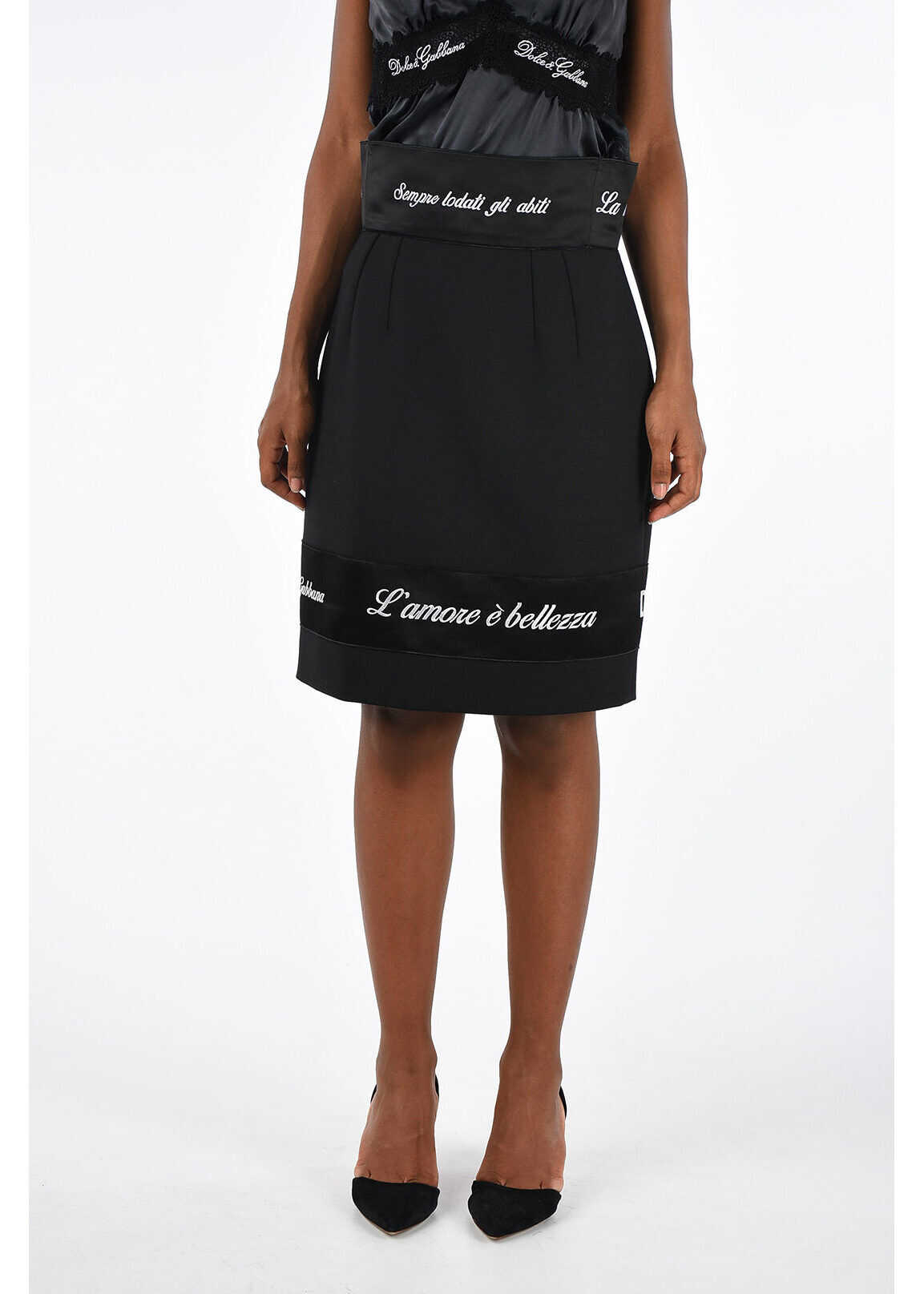 Dolce & Gabbana Virgin Wool Blend Skirt BLACK