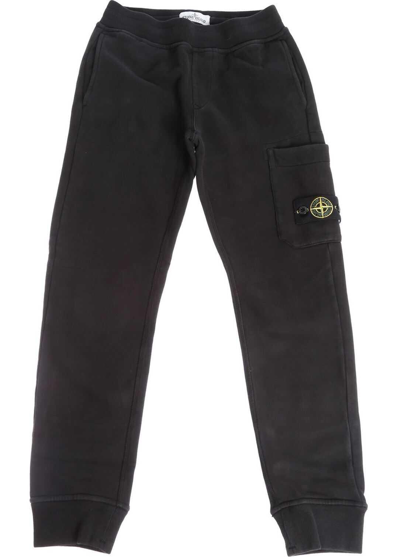 Stone Island Junior Black Cotton Pants Black