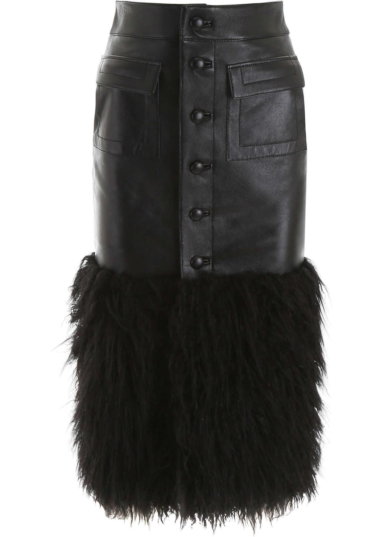 Saint Laurent Leather And Faux Fur Skirt BLACK