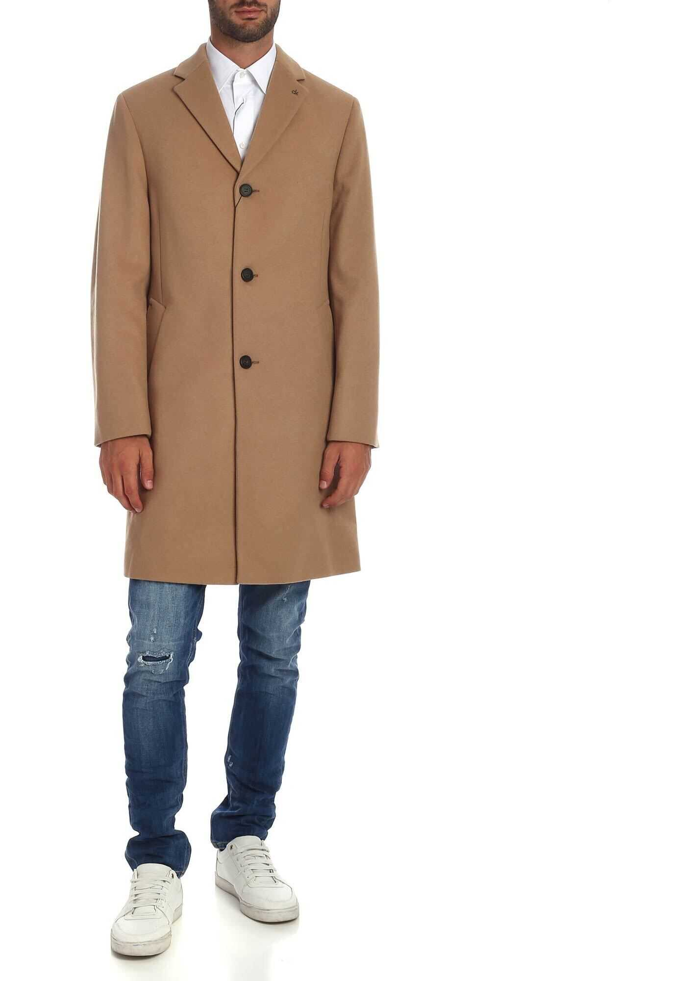 Calvin Klein Single-Breasted Coat In Camel Color Camel