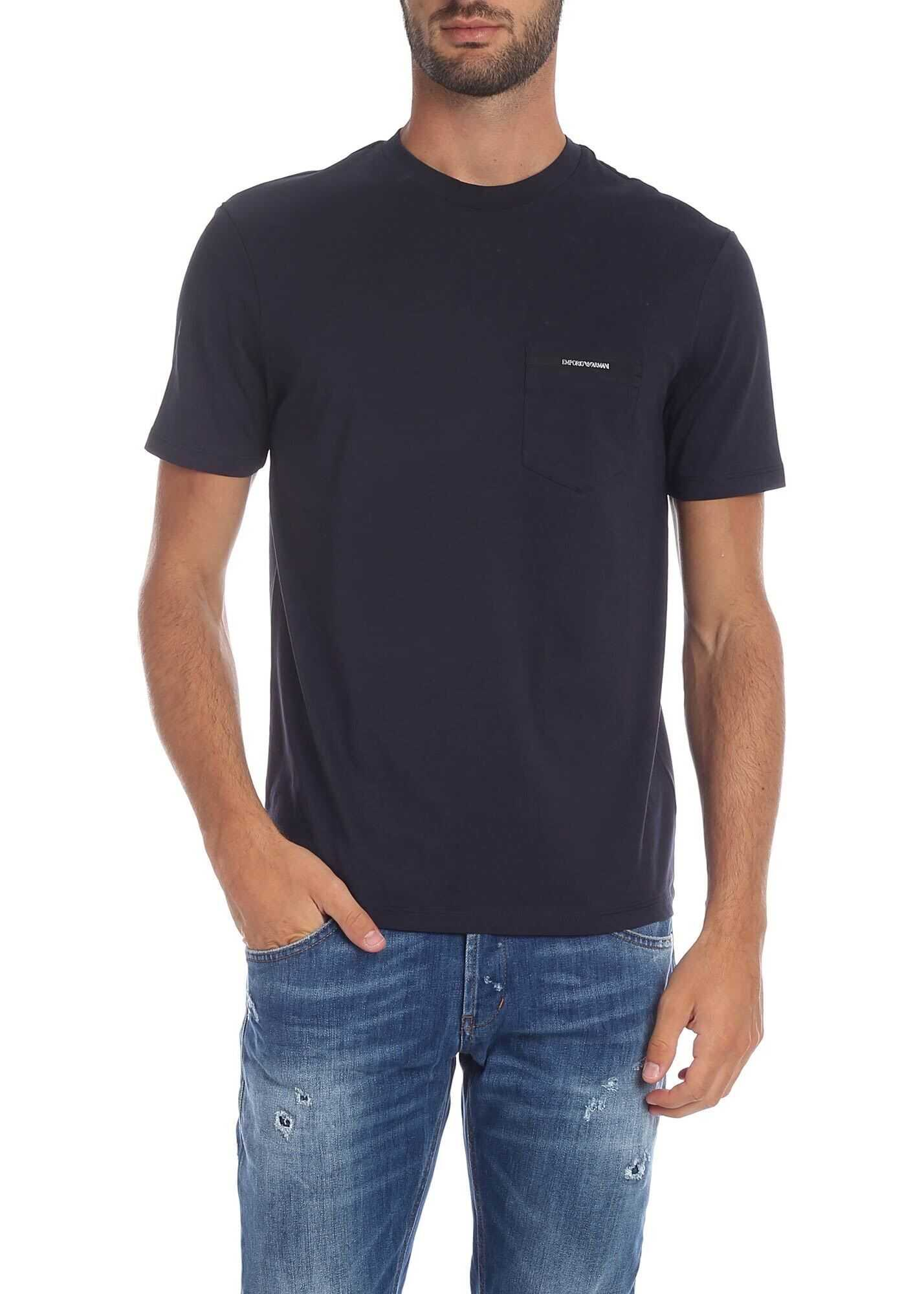 Emporio Armani Blue T-Shirt With Pocket Blue