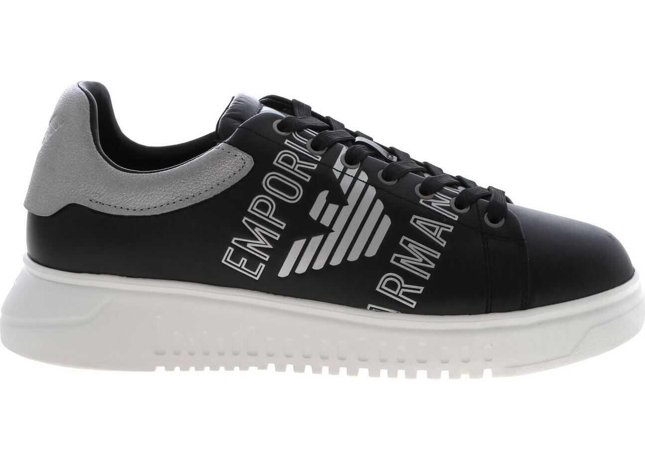 Emporio Armani Black And Silver Sneakers Black