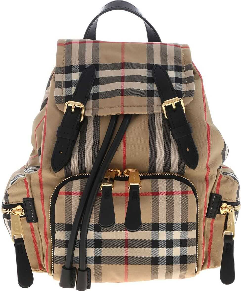 Burberry The Rucksack Small Backpack With Iconic Pattern Beige
