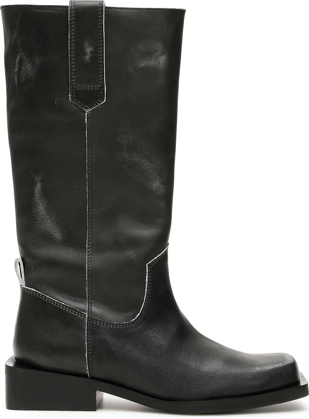 Ganni Calfskin Boots BLACK
