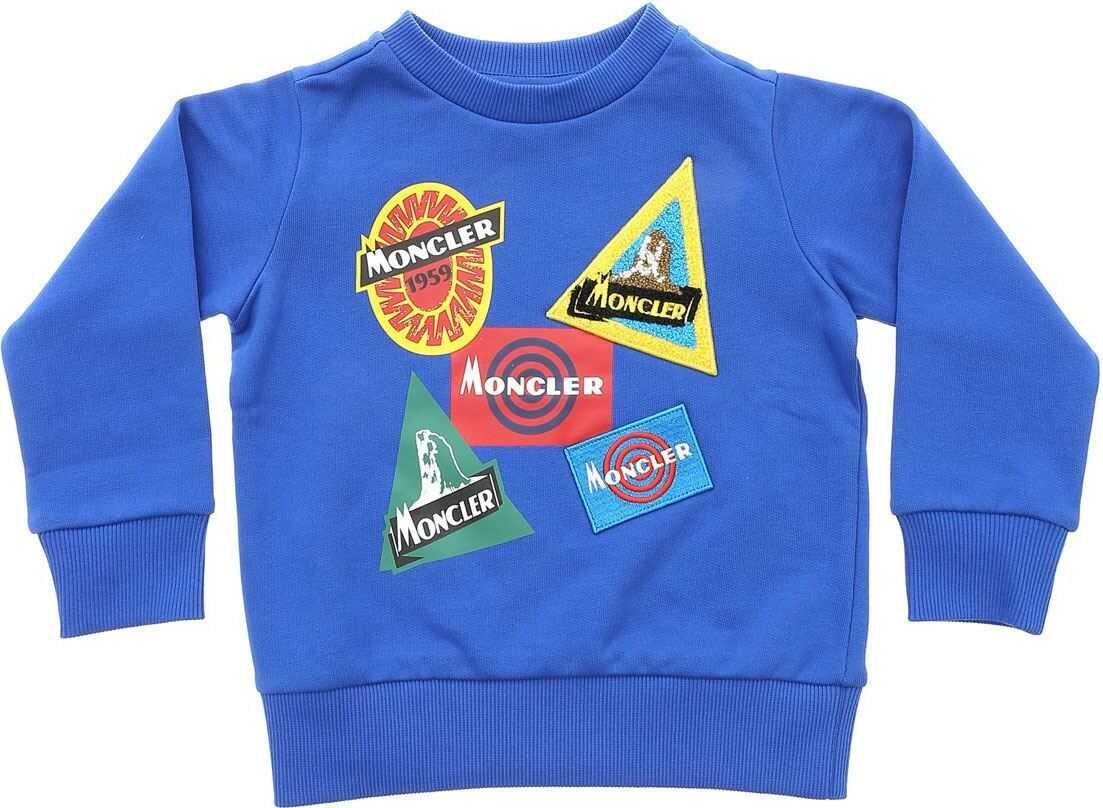 Electric Blue Sweatshirt With Logo Prints thumbnail