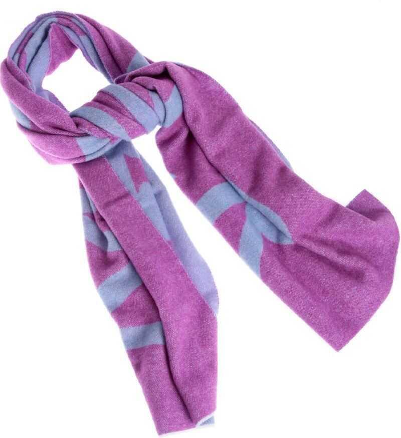 Moncler Purple Scarf With Light Blue Logo Intarsia Purple