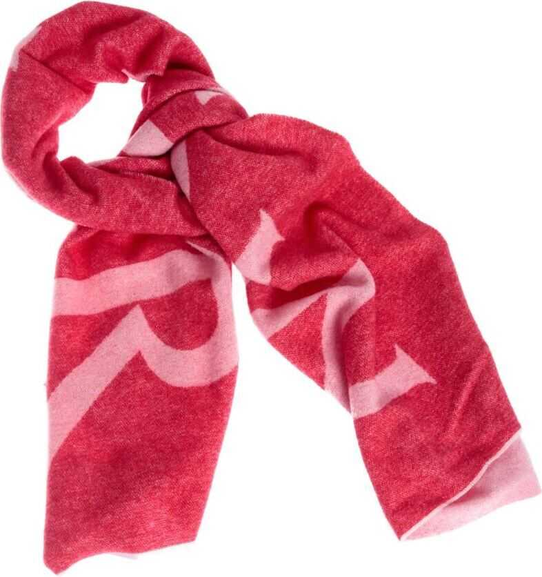 Moncler Red Scarf With Pink Logo Intarsia Red