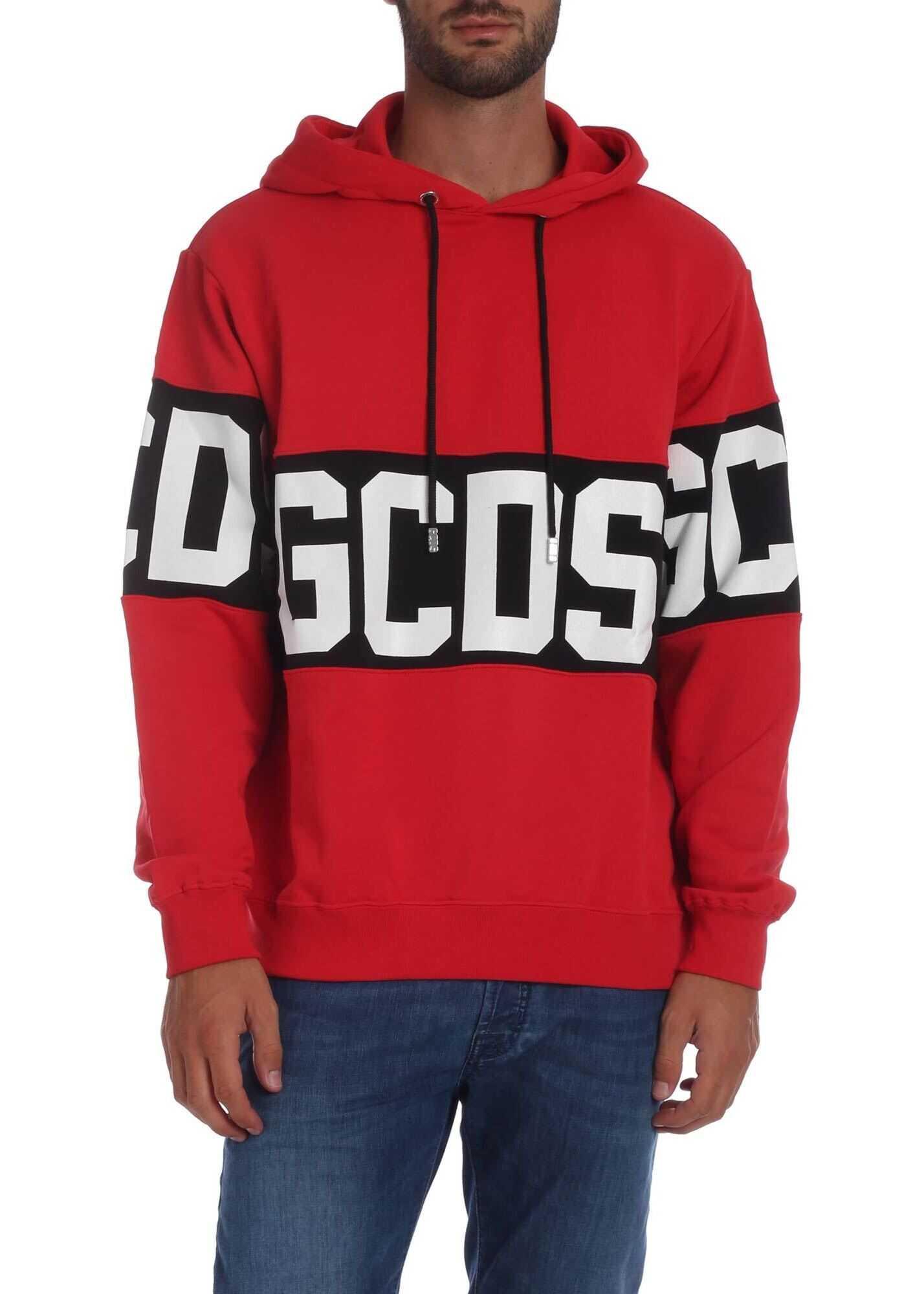 GCDS Red Sweatshirt With Gcds Print Red