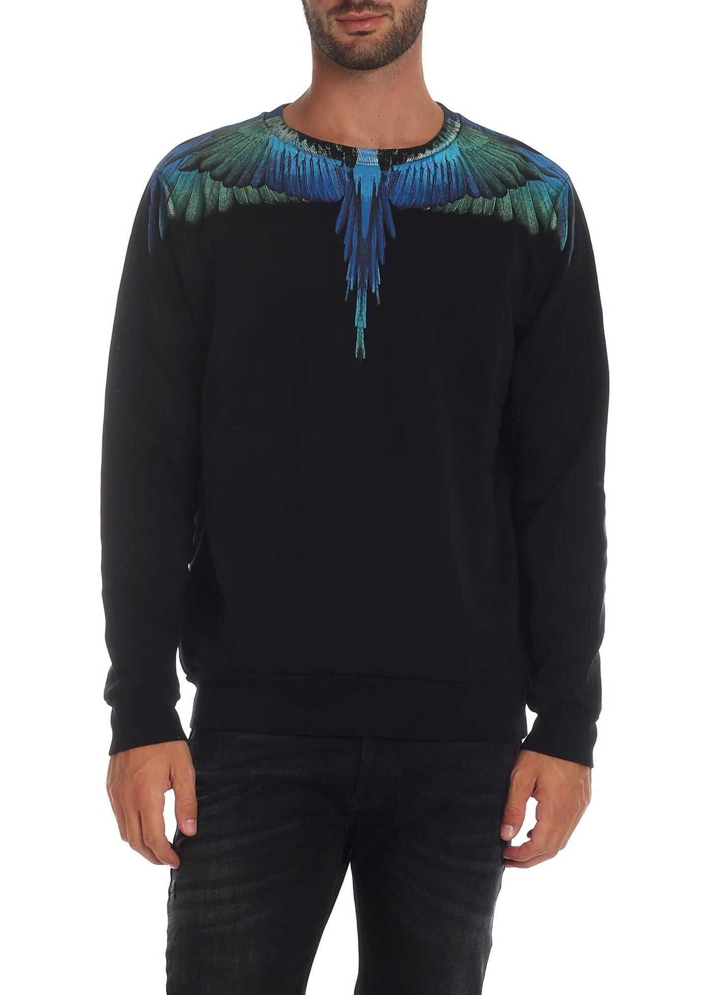 Marcelo Burlon Blue Wings Sweatshirt In Black Black