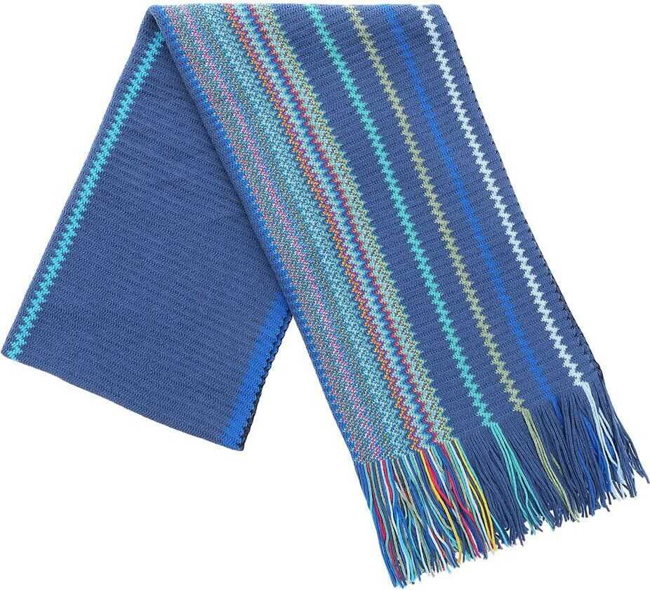 Missoni Air Force Blue Scarf With Chevron Pattern Blue