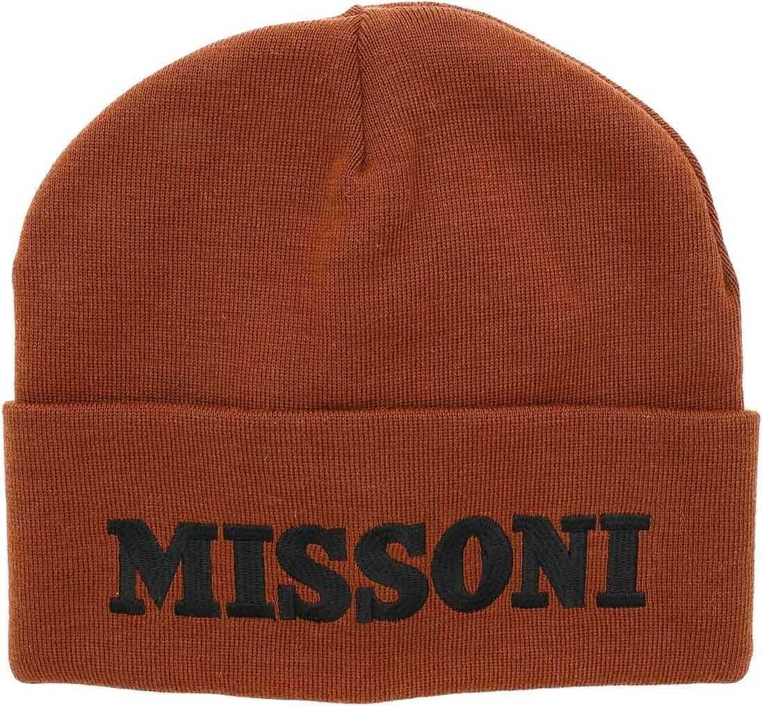 Rust-Colored Beanie With Logo Embroidery thumbnail
