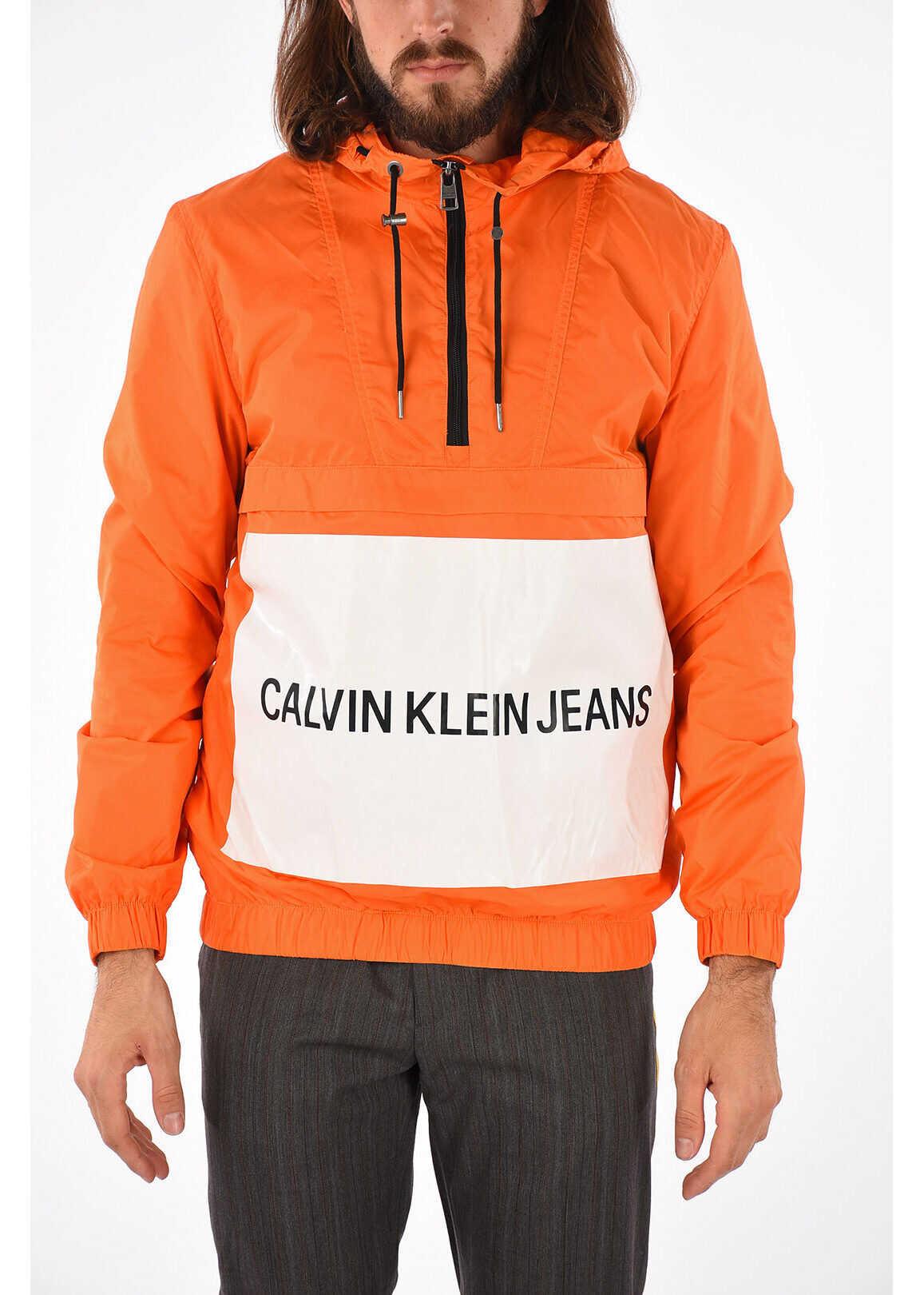 Calvin Klein JEANS EST. 1978 Hooded Nylon Jacket ORANGE