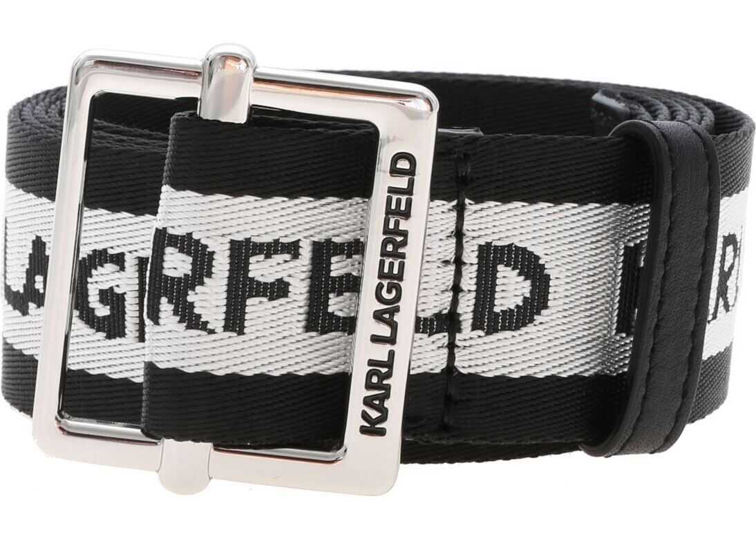 Karl Lagerfeld Karl Logo Belt In Black And Silver Black