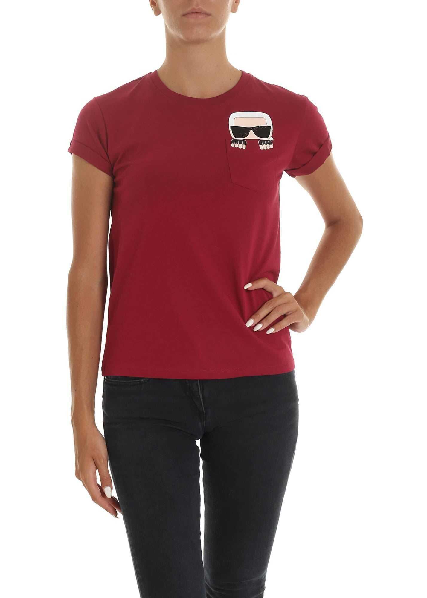 Karl Lagerfeld Ikonik Karl Pocket T-Shirt In Bordeaux Red