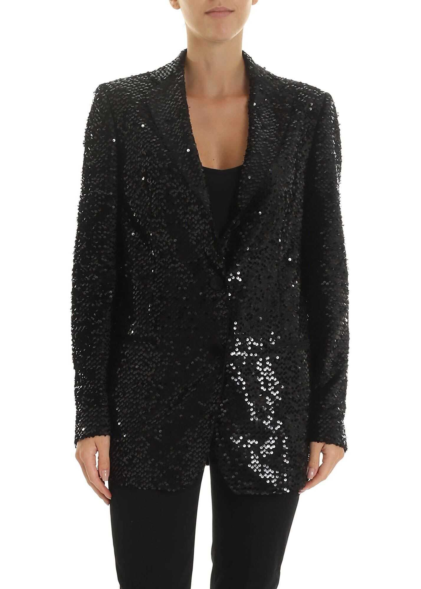 Tagliatore Betsy Sequined Jacket In Black Black