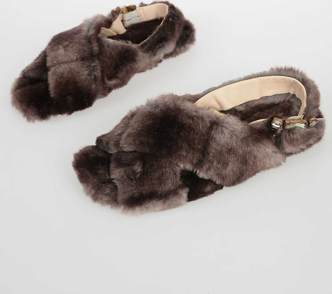 Anna Baiguera Faux Fur Flat AVE Sandals GRAY