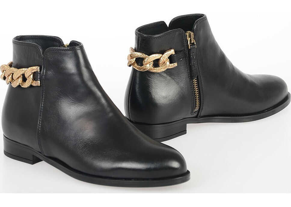Anna Baiguera Leather Gold Tone ARIANNA Ankle Boots BLACK