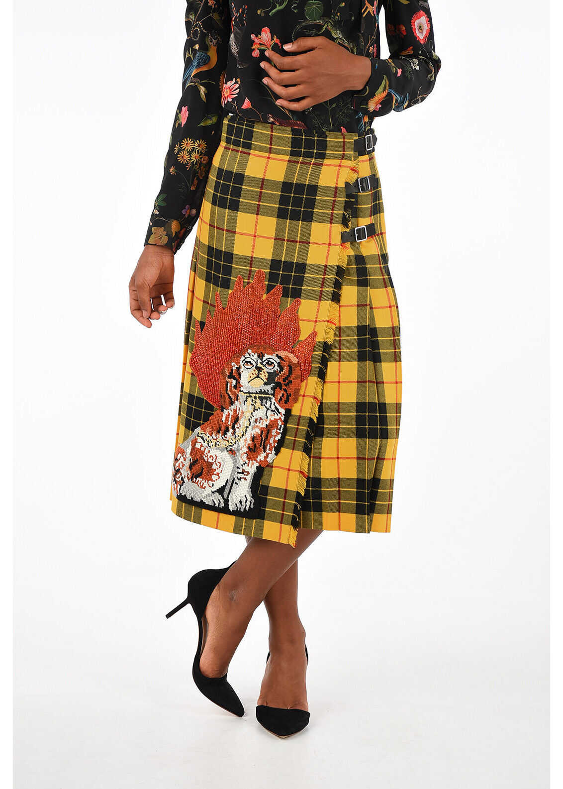 Gucci Embroidered Checked Skirt MULTICOLOR
