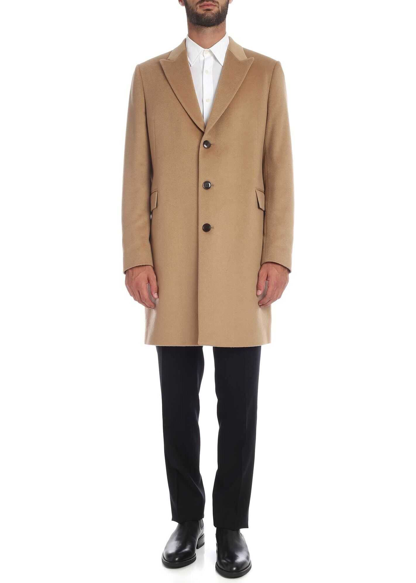 Paul Smith Pure Cashmere Coat In Camel Color Camel