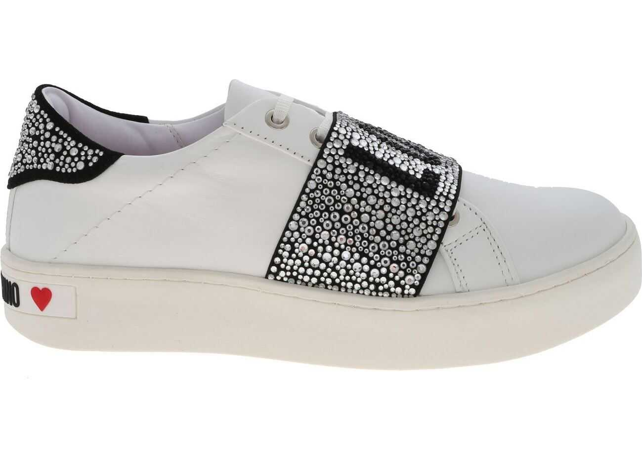 LOVE Moschino White Sneakers With Rhinestone Band White