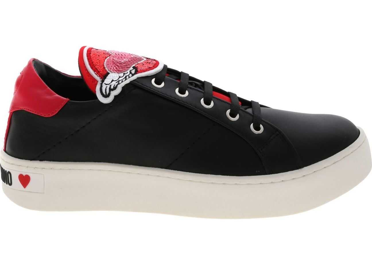 LOVE Moschino Black Sneakers With Heart Patch Black