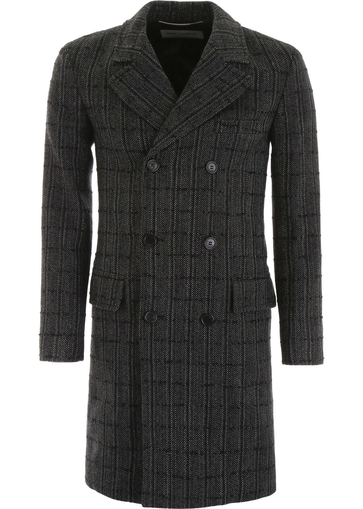 Saint Laurent Check Tweed Coat NOIR CRAIE